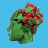 Estallido principal de la mujer brillante shuttered - dolor de cabeza, problemas mentales, tensión ilustración del vector