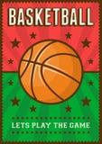 Estallido retro Art Poster Signage del deporte del baloncesto stock de ilustración