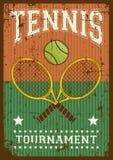 Estallido retro Art Poster Signage del deporte del tenis ilustración del vector