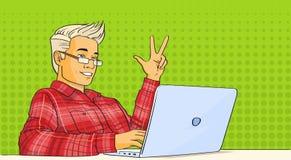 Estallido video Art Colorful Retro Style del ordenador portátil de la corriente del blog del hombre ilustración del vector