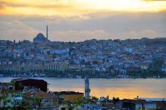 Estambul en puesta del sol Imágenes de archivo libres de regalías