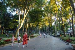 ESTAMBUL, TURQUÍA - 21 DE AGOSTO DE 2018: la gente camina en el parque Gulhane entre sicómoro de los árboles imagen de archivo