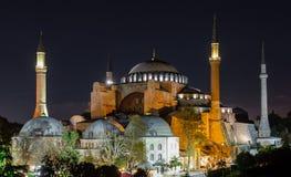 Estambul, Turquía 10-November-2018 Mezquita de Haya Sofia iluminada en la noche imagen de archivo