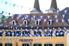 Estamenha bávara azul e branca fotos de stock royalty free