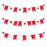Estamenhas canadenses, festões, bandeiras ajustadas Fotos de Stock Royalty Free