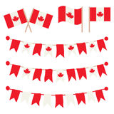 Estamenhas canadenses, festões, bandeiras ajustadas Imagens de Stock Royalty Free