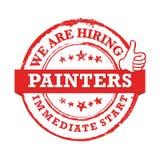 Estamos contratando a los pintores, comienzo inmediato - selle/etiqueta para la impresión Ilustración del Vector