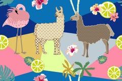 Estampado de animales creativo Modelo inconsútil del vector con las llamas, los flamencos y las flores Imágenes de archivo libres de regalías