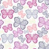 Estampado de flores adornado inconsútil con las mariposas Imagenes de archivo