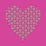 Estampado de flores bajo la forma de corazón Imagenes de archivo