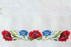 Estampado de flores bordado Foto de archivo libre de regalías