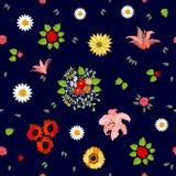Estampado de flores brillante con adornos del bohemiam Foto de archivo libre de regalías