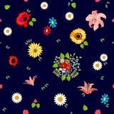 Estampado de flores brillante con adornos del bohemiam Fotografía de archivo