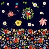 Estampado de flores brillante con adornos del bohemiam Foto de archivo