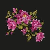 Estampado de flores colorido del bordado ilustración del vector