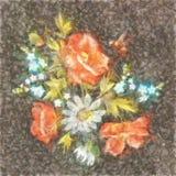 Estampado de flores colorido del bordado de Daisy Flowers Traditional Folk Fashion de la acuarela con Poppy And Fotos de archivo