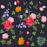 Estampado de flores con la rosa, el fritilaria, el cosmos y flores de campana Mantón español ilustración del vector