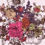 Estampado de flores con las flores dibujadas mano grabadas Foto de archivo libre de regalías