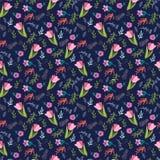 Estampado de flores con los tulipanes y las flores salvajes Imagenes de archivo
