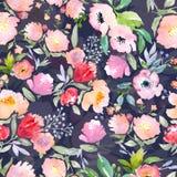 Estampado de flores de la acuarela Fotos de archivo libres de regalías