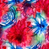 Estampado de flores de la acuarela del vector Modelo inconsútil con el ramo púrpura y rosado en el fondo blanco Flores del prado Foto de archivo