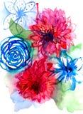 Estampado de flores de la acuarela Modelo inconsútil con el ramo púrpura y rosado en el fondo blanco Flores del prado Imágenes de archivo libres de regalías