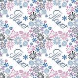 Estampado de flores decorativo inconsútil con la flor de la palabra, fondo blanco, flores creativas en colores en colores pastel ilustración del vector