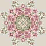 Estampado de flores del círculo con las peonías Foto de archivo