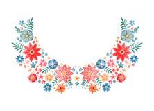 Estampado de flores del escote del bordado Composición hermosa con las flores y las hojas coloridas Diseño bordado para la moda libre illustration