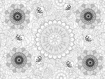 Estampado de flores del monocromo del vector Textura floral dibujada mano, flores decorativas, libro de colorear stock de ilustración