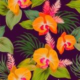 Estampado de flores del vector con las orquídeas Imagen de archivo