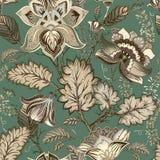 Estampado de flores del vintage del vector, estilo de Provence Flores estilizadas grandes en un fondo verde Diseño para la web, m stock de ilustración