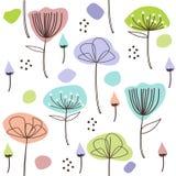 Estampado de flores en colores pastel lindo Ilustración drenada mano del vector stock de ilustración