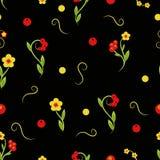 Estampado de flores en un fondo inconsútil negro del hohloma Imagen de archivo libre de regalías