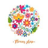 Estampado de flores en un motivo étnico mexicano del círculo Foto de archivo