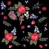 Estampado de flores español con las rosas rojas, el clavel, el sabio y flores de campana en fondo negro Fragmento de Manton ilustración del vector