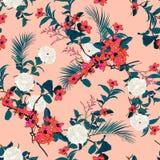 Estampado de flores hermoso en los muchos clase de flores tropical stock de ilustración