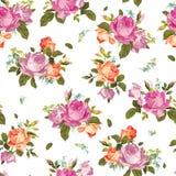Estampado de flores inconsútil abstracto con las rosas rosadas y anaranjadas en w Fotografía de archivo