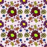 Estampado de flores inconsútil bajo la forma de child& x27; dibujo de s Imágenes de archivo libres de regalías