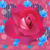 Estampado de flores inconsútil brillante con la rosa carmesí grande, pequeñas flores azules del cosmos, estrellas, corazones, sím ilustración del vector