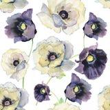Estampado de flores inconsútil con las anémonas Ilustración de la acuarela Imagen de archivo