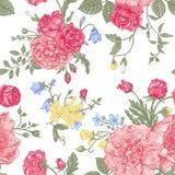Estampado de flores inconsútil con las flores coloridas stock de ilustración