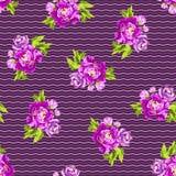 Estampado de flores inconsútil con las peonías Imagen de archivo