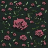 Estampado de flores inconsútil con las rosas - flor - Vector el ejemplo Imagen de archivo