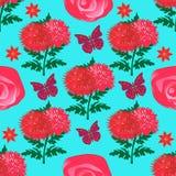 Estampado de flores inconsútil con los crisantemos, las rosas y las mariposas rojos brillantes libre illustration