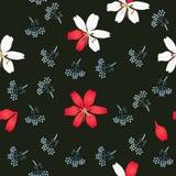 Estampado de flores inconsútil con los lirios y las siluetas de las mini flores del paraguas aisladas en fondo negro en vector