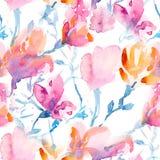 Estampado de flores inconsútil con Sakura y magnolies en estilo de la acuarela libre illustration