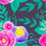 Estampado de flores inconsútil de la acuarela Fotografía de archivo libre de regalías