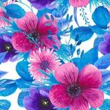 Estampado de flores inconsútil de la acuarela Fotos de archivo libres de regalías