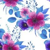 Estampado de flores inconsútil de la acuarela Foto de archivo